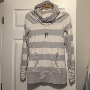 Lululemon Gray White Stripe Long Sleeve Hoodie